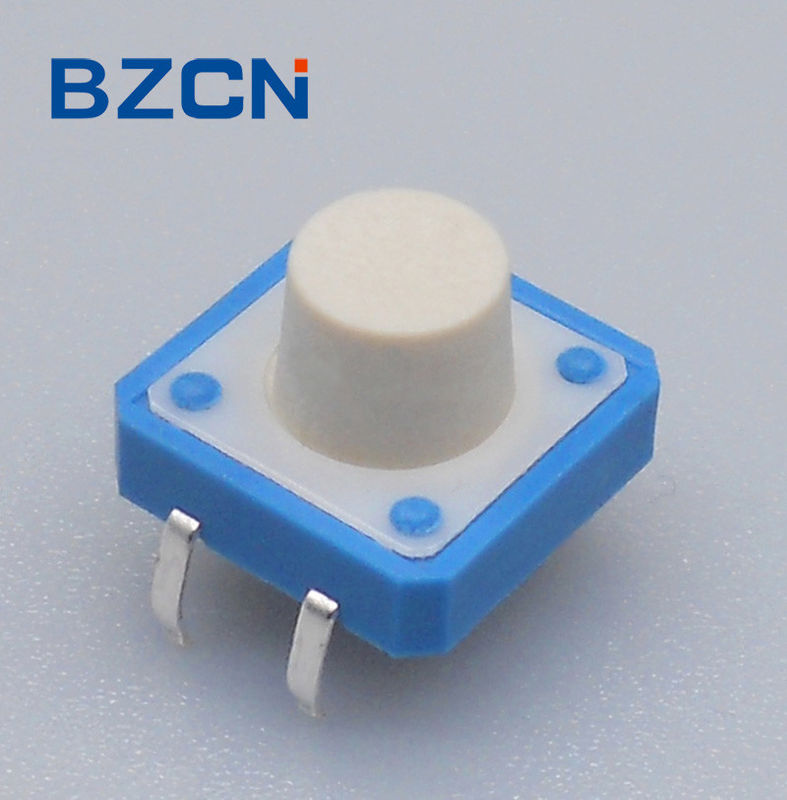 Thru Hole 12 Mm X 12mm Tactile Switch 0.5mA Current Rate Blue House With White Button